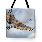 Sandhill Crane In Flight Tote Bag