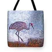 Sandhill Crane Stroll Painted Tote Bag