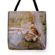 Sandhill Cranes Chicks First Bath Tote Bag