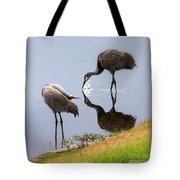 Sandhill Cranes Reflection On Pond Tote Bag