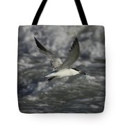 Sandwhich Tern Flies Over Stormy Waves Tote Bag