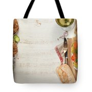 Sandwich With Salmon, Cucumber, Cream Cheese, Dill And Tomatoe Tote Bag