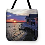 Sandy Neck Sunset At The Cottages Tote Bag
