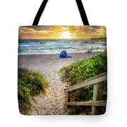 Sandy Walk Down To The Beach Tote Bag