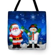 Santa And Frosty Painting Image With Canvased Texture Tote Bag