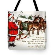 Santa And His Reindeer Greetings Merry Christmas Tote Bag