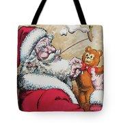 Santa And Teddy Tote Bag
