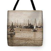 Santa Barbara Harbor Sepia Tote Bag