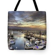 Santa Barbara Harbor Sunset Tote Bag