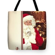 Santa Claus At Open Christmas Door Tote Bag
