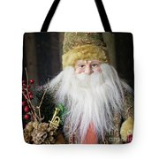 Santa Claus Doll In Green Suit With Forest Background. Tote Bag