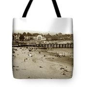 Santa Cruz Beach With Ideal Fish Restaurant 1930's Tote Bag