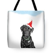 Santa Dog In The Snow Tote Bag