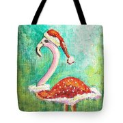 Santa Flamingo Tote Bag