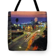 Santa Monica Ca Pacific Park Pier  Sunset Tote Bag