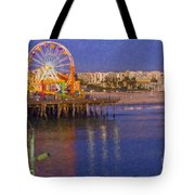Santa Monica Pacific Park Pier And Lowes Hotel Tote Bag