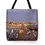 Santa Monica Pacific Park Pier Skyline Panoramic Tote Bag