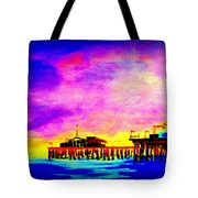 Santa Monica Pier A Night Tote Bag