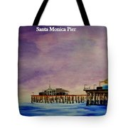 Santa Monica Pier At Night Tote Bag