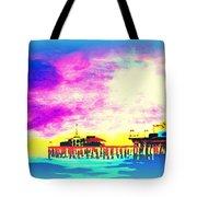 Santa Monica Pier In Blue Tote Bag