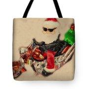 Santa On Motorcycle  Tote Bag
