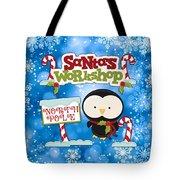 Santa's Workshop Penguin Tote Bag