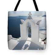 Santorini Bell Tower Casts Shadow Tote Bag