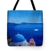 Santorini Greece View From Oia To Caldera Tote Bag