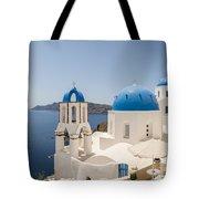Santorini Oia Churches Stitched Panorama Tote Bag