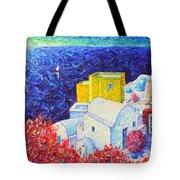 Santorini Oia Colors Modern Impressionist Impasto Palette Knife Oil Painting By Ana Maria Edulescu Tote Bag