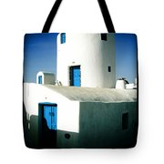 Santorini Silo With Border Tote Bag