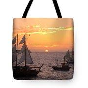 Santorini Sunset Sails Tote Bag