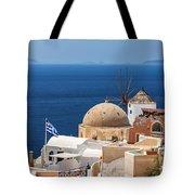 Santorini Windmill And Church Tote Bag