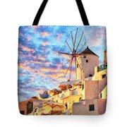 Santorini Windmill At Oia Digital Painting Tote Bag