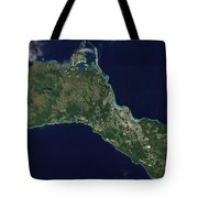 Satellite View Of The Island Of Guam Tote Bag