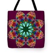 Satin Rainbow Fractal Flower II Tote Bag