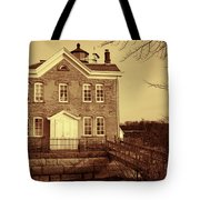 Saugerties Lighthouse Sepia Tote Bag by Nancy De Flon