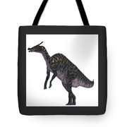 Saurolophus Dinosaur On White Tote Bag