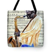 Sax Man With A Yellow Hat Tote Bag
