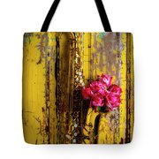Saxophone And Roses On Wall Tote Bag