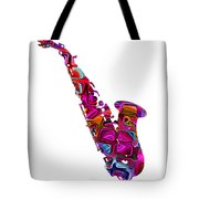 Saxophone With Shadow White Background Tote Bag