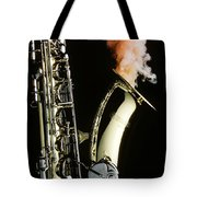 Saxophone With Smoke Tote Bag by Garry Gay