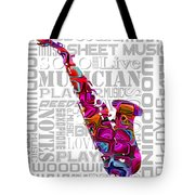 Saxophone With Word Background Tote Bag