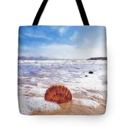 Scallop Shell On The Beach - Impressions Tote Bag