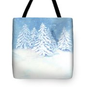 Scandinavian Winter Snowy Trees Hygge Tote Bag