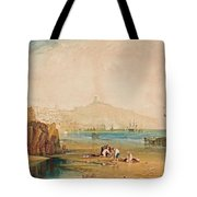 Scarborough Town And Castle Morning Boys Catching Crabs Tote Bag