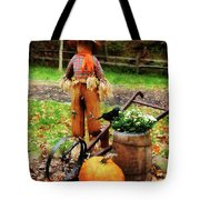 Scarecrow And Pumpkin Tote Bag