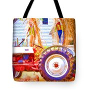 Scarecrow And Pumpkins Tote Bag