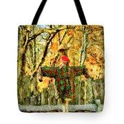 scarecrow in field at Stanhope Waterloo Village Tote Bag