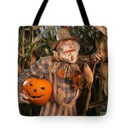 Scarecrow With A Carved Pumpkin  In A Corn Field Tote Bag